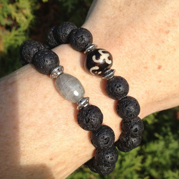 """Unisex Aromatherapy Essential Oil Diffusing Lava Stone Stacking Bracelet with Bone OM Bead 7"""""""