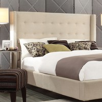 HomeVance Simone Tufted Wingback Oatmeal Queen Headboard (Brown)