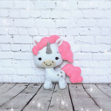 Magical Unicorn Felt Holiday Ornaments Birthday Gift For Kids Room Decor Party Handcrafted Soft Toy Animal Kawaii Pegacorn Fantasy Horn