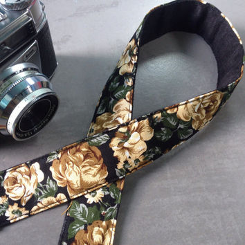 DSLR camera strap,Gold  Rose Camera Strap, leather camera Strap Gift for her