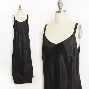 Vintage 1940s Slip - Black Acetate Full Length Bias Cut Slip Dress 30s - Large