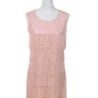 Anna-Kaci S/M Fit Pretty Pink Vintage Inspired Flapper Dress w Scale Detail
