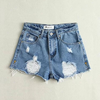 Korean Stylish Summer Women's Fashion High Rise Ripped Holes Split Soft Denim Shorts [4920626756]