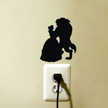 Beauty and the Beast Velvet Decal - Princess Belle Disney Laptop Sticker - Black Fabric Nursery Wall Decor