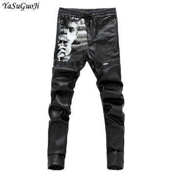 New 2018 punk style fashion figure print elastic waist pu leather pants men slim fit pencil pants for men pantalones hombre PK4