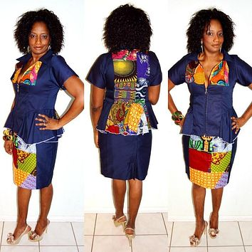 African Print And Blue Wooden Two Piece Dress