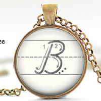 B Initial Necklace, Back to School, Teacher Gift, The Letter B Art Pendant, Cursive School Handwriting Charm, Alphabet Necklace