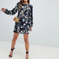 QED London Floral Shift Dress With Tie Detail at asos.com
