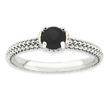 Antiqued Sterling Silver & 14K Gold Plated Stackable Onyx Ring