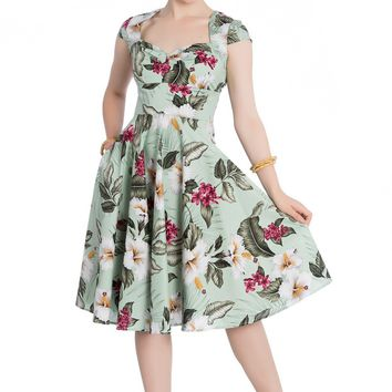 Hawaiian Tropical Hibiscus Flowers 50s Vintage Rockabilly Flare Swing Party Dress
