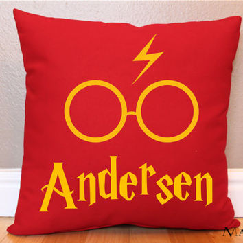 Personalized Gryffindor Red Harry Potter Pillow w/ Lightning Bolt and Glasses