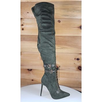 So Me Ashanti Olive Army Green Pointy Toe High Heel OTK Above Knee Boots