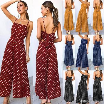 vintage Jumpsuit Womens Polka Dot Holiday beach party Wide Leg Pants elegant office Long Jumpsuit Backless Strappy Playsuit#ss