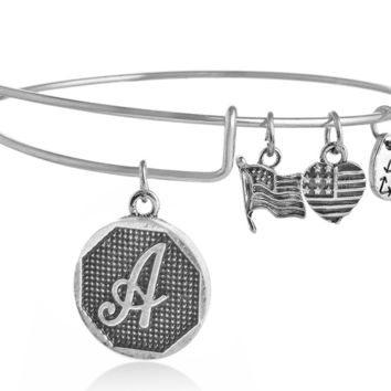 "Alex and Ani style  letter ""A"" pattern pendant charm bracelet,a perfect gift !"