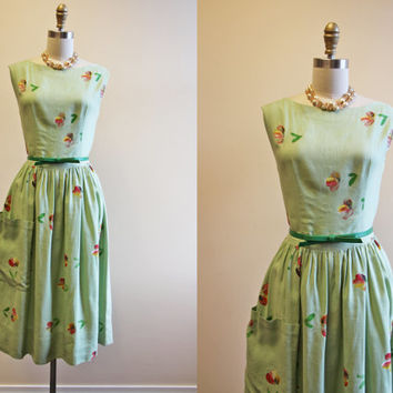 50s Dress - 1950s Vintage Dress - Mint Green Linen Painted Floral Rhinestone Party Dress S M - Julep