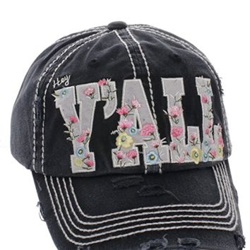 Black Hey Y'all Floral Distressed Vintage Cap