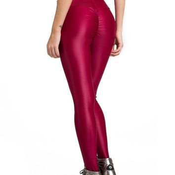 RED LIQUID SCRUNCH LEGGINGS