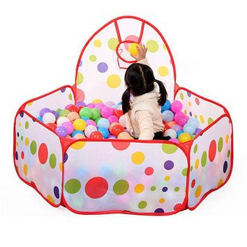 ICIK272 Large Children Kid Ocean Ball Pit Pool Game Play Tent with Ball Hoop Indoor Outdoor Garden Playhouse Kids Tent