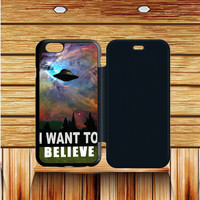 I Want To Belive Xfile Movie Nebula Space iPhone 6 plus  Flip Case Sintawaty.com