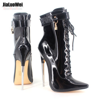 "Sexy 6 1/4"" Pointy Toe High Heel Ankle Boots with Padlocks Dagger-1023 Devious sizes5 - 15 Free shipping"