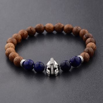 Amader Warrior Helmet Wood Beads Men Bracelets Charm Meditation Red&Blue Bracelet Women Prayer Jewelry Yoga ABJ006