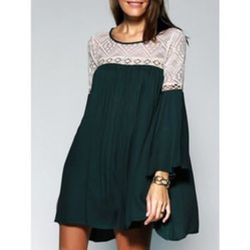 Loose-Fitting Women's Scoop Neck Lace See-through Bell Sleeves Tunic Dress