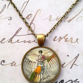Steampunk Wings Necklace, Angel, Geek Chic, Neoclassical, Neovictorian, Anatomical, Machines, Biomechanical, Robot T47