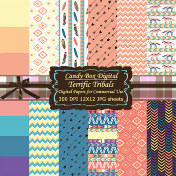 Tribal Paper, tribal scrapbook, tribal digital, Indian paper, Indian scrapbook, Indian digital, native scrapbook - Commercial OK