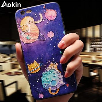 Aokin Cartoon Cute Cat Case For iPhone 6 Case 3D Relief Print Cat Acrylic Soft TPU Back Cover for iPhone 6 6s 7 Plus Phone Cases