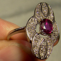 Vintage 14K White Gold Ruby and Diamonds Ring c1940s with Appraisal