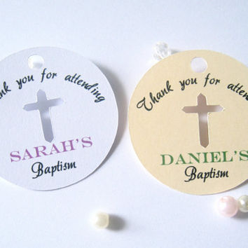 Baptism favor tags, baby christening favor tags, religious favor tags, cross favor tags - 30 tags