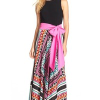 Eliza J Jersey & Crêpe de Chine Maxi Dress (Regular & Petite) | Nordstrom