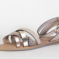 Bliss Blush Snakeskin Strap Sandals