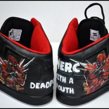 Custom Mens Shoes, Painted Shoes, Deadpool, Painted Hightops, Painted Nike, Custom Jor