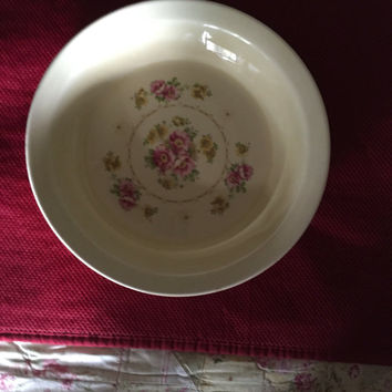 "Flower pie plate with pink flowers  Oven safe  Cottage style  Crooksville Pantry ""Taylor Smith Taylor""  Yellow dish Off white dish"