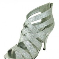 SILVER PEEP TOE STRAPPY HEELS @ KiwiLook fashion