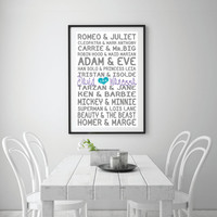 Famous Couples Custom design, Personalised Famous Couples Print , Couples names, Wedding engagement gift, modern art Room Décor