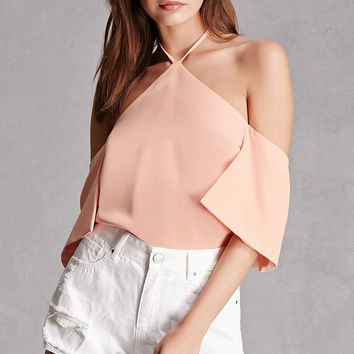 Open-Shoulder Halter Top
