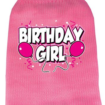 Birthday Girl Screen Print Knit Pet Sweater Xs Pink