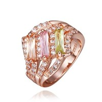 18K Rose Gold Plated Three Colors Swarovski Elements Crystals Wave Lines Ring, Size 8