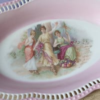 Antique Schumann Bavaria porcelain portrait bowl, pink and white bowl, maidens, lesbian, antique porcelain, antique bowl