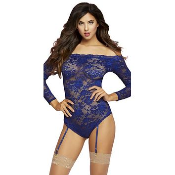 Sexy Christian Floral Lace Off Shoulder Long Sleeve Teddy with Removable Garters
