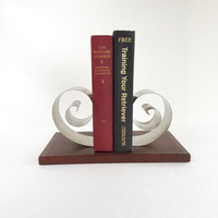Mid Century Spring Tite Automatic Book Rack, Vintage Modern Scrolling Bookends