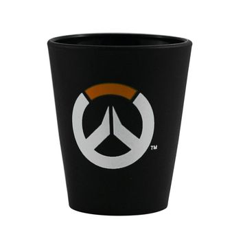 1.5oz OFFICIAL Overwatch Shot Glass Black colored with Logo printed Ceramic Shot Glass Novelty GIFT