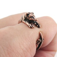 3D Opossum Possum Hugging Your Finger Shaped Animal Ring in Copper