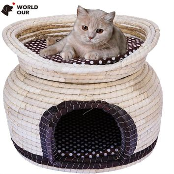 Luxury Knitted Dog Bed Removable Home For Dog Soft Warm Kennel Double Deck Bed For Small Dog