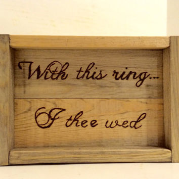 Ring bearer rustic tray, country wedding, cowboy wedding tray, wood burned ring bearer tray