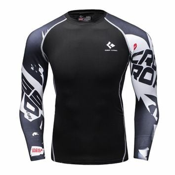 Mens Compression Shirt Body Base Layer Thermal Tops Long Sleeve T-Shirt Skins Gear Cool Dry Jersey