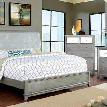 5 pc Bryant II collection silver finish wood with padded and tufted headboard queen bedroom set