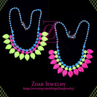 Colorful Neon Bubble Bib Statement Fashion Party Necklace